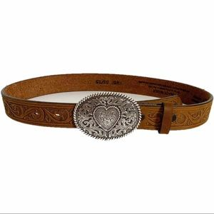 Justin Leather Belt with Silver Heart Buckle